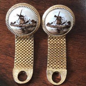 Vintage Dutch Delft Windmill Ceramic Cufflinks